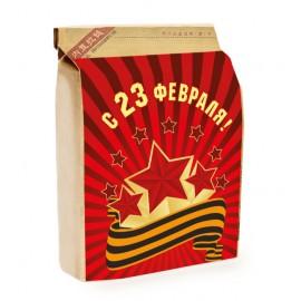 Корпоративный подарок на 23 февраля: Подарочный набор на 23 февраля «Комплимент мужской» (вес подарка 150 грамм, подарок с брендированием)