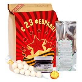Корпоративный подарок на 23 февраля: Подарочный набор на 23 февраля «Комплимент мужской премиум» (вес подарка 300 грамм, подарок с брендированием)