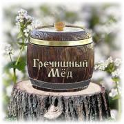 Алтайский эко-мед Гречишный 0,5 кг, в деревянном бочонке, размер 10 см на 12 см