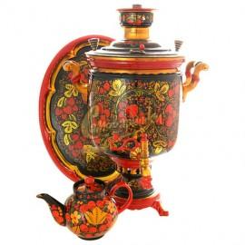 Самовар угольный на 5 литров с чайником и подносом (по предоплате)