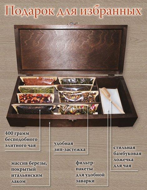 Elite TeaBox premium (ларец из массива березы с элитным чаем премиум) «Для избранных»